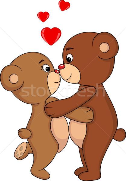 Photo stock: Cartoon · ours · couple · baiser · fleurs · fille