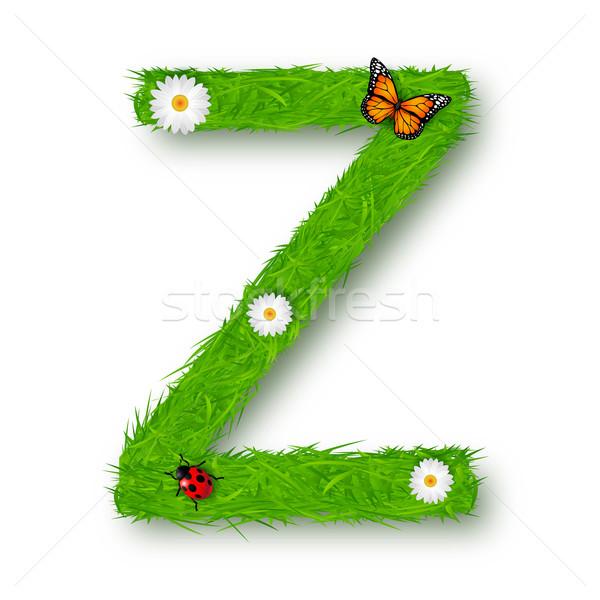 Grass Letter Z on white background Stock photo © tigatelu