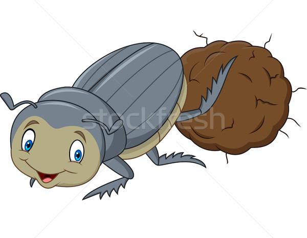 Dung Beetle with a Big Ball of Poop Cartoon Stock photo © tigatelu