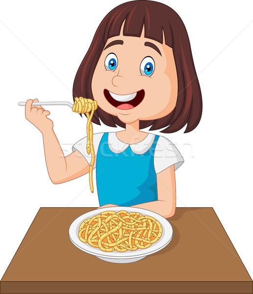 Little girl eating spaghetti Stock photo © tigatelu
