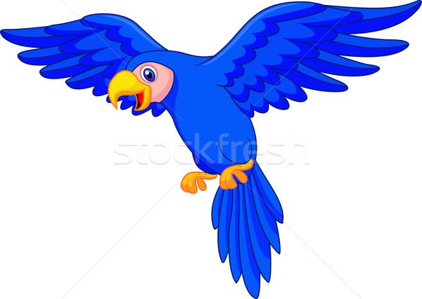 Sevimli mavi papağan uçan mutlu yaz Stok fotoğraf © tigatelu