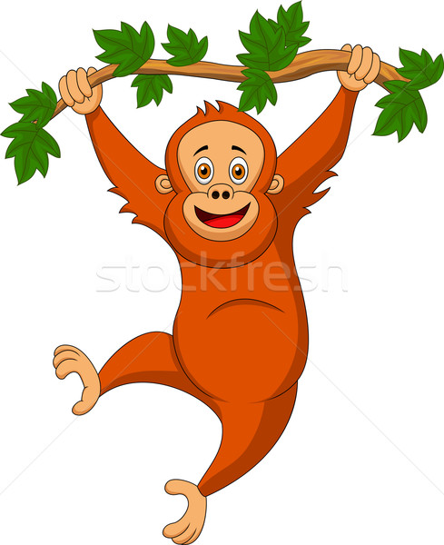 Cute orangutan cartoon hanging on a tree branch Stock photo © tigatelu