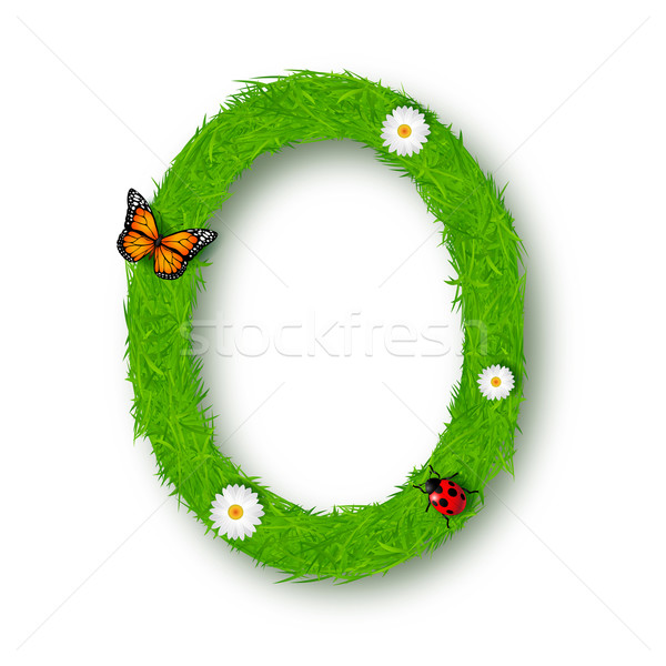 Grass Letter O on white background  Stock photo © tigatelu