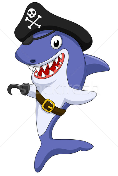 Cute shark pirate cartoon Stock photo © tigatelu