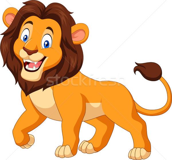 Cartoon happy lion isolated on white background Stock photo © tigatelu