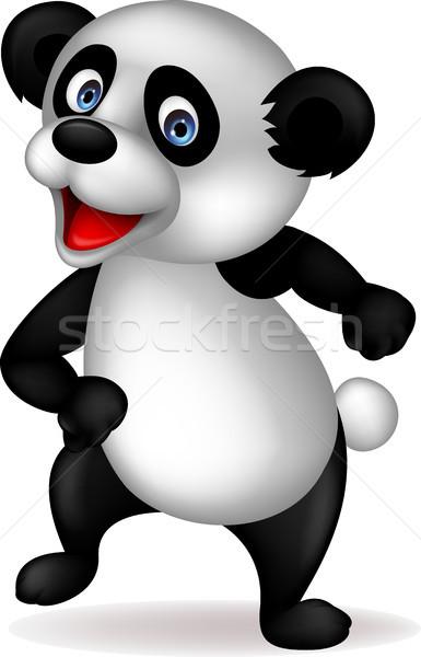 Stock fotó: Panda · rajz · tánc · baba · mosoly · arc