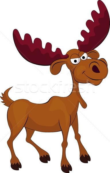 Grappig eland cartoon hand gelukkig speelgoed Stockfoto © tigatelu