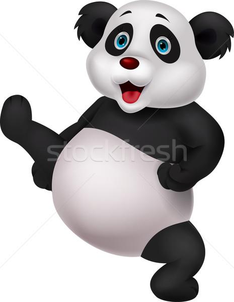 Cute Panda doing martial art Stock photo © tigatelu