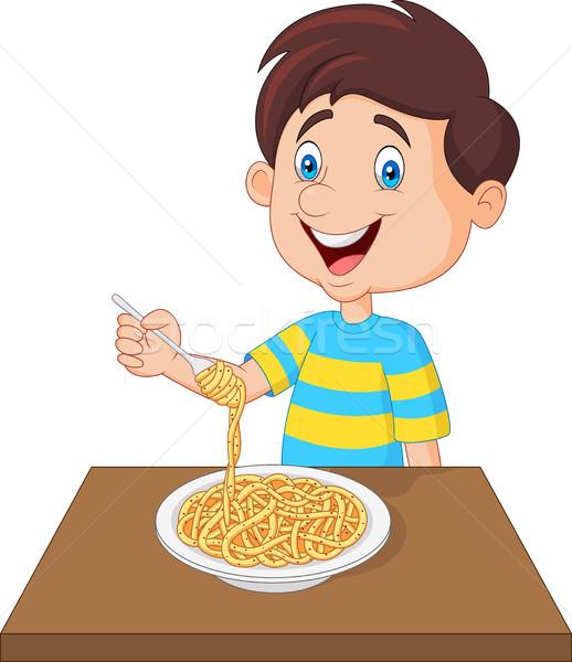 Mały chłopca jedzenie spaghetti makaronu młodych Zdjęcia stock © tigatelu