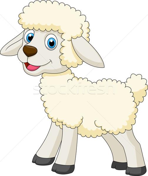 かわいい 羊 漫画 孤立した 白 芸術 ストックフォト © tigatelu