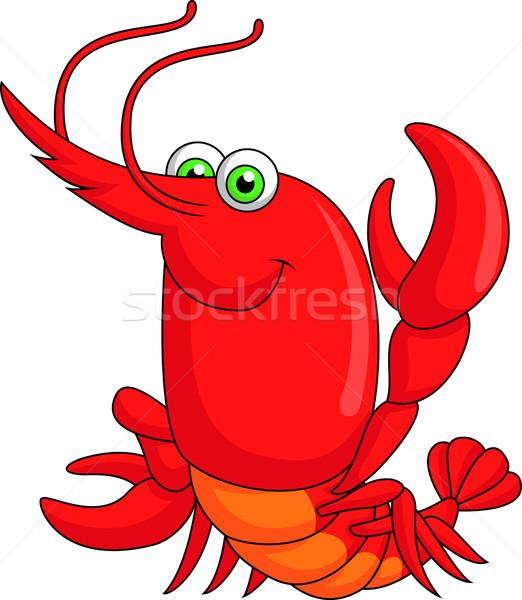 Bonitinho lagosta desenho animado sorrir oceano vermelho Foto stock © tigatelu
