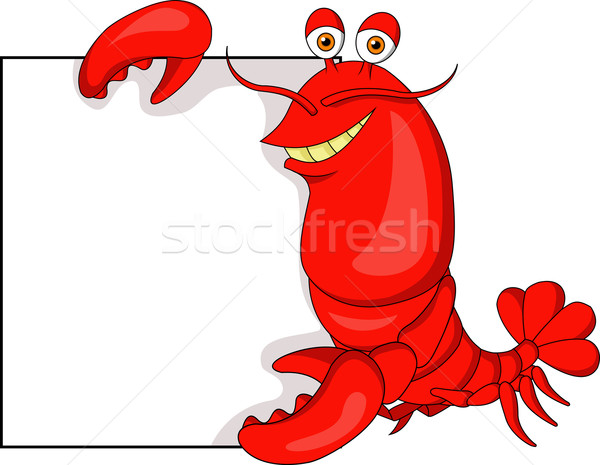 Cute Lobster with blank sign Stock photo © tigatelu