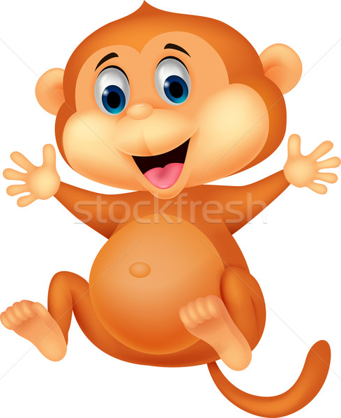Cute monkey cartoon Stock photo © tigatelu