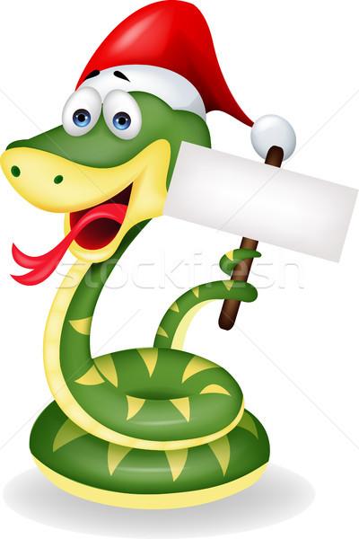 Сток-фото: зеленый · змеи · Cartoon · улыбка · счастливым