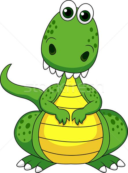 Bonitinho verde dinossauro desenho animado sorrir diversão Foto stock © tigatelu