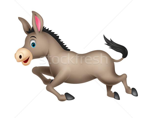 Cute ezel cartoon lopen kinderen gelukkig Stockfoto © tigatelu