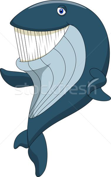 Aranyos bálna rajz integet mosoly boldog Stock fotó © tigatelu