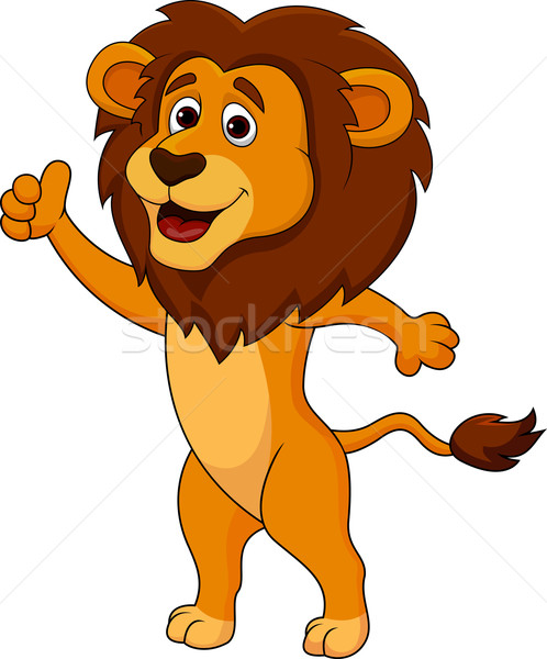 Cute lion with thumb up Stock photo © tigatelu