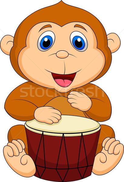 Cute scimmia cartoon giocare tamburo divertente Foto d'archivio © tigatelu