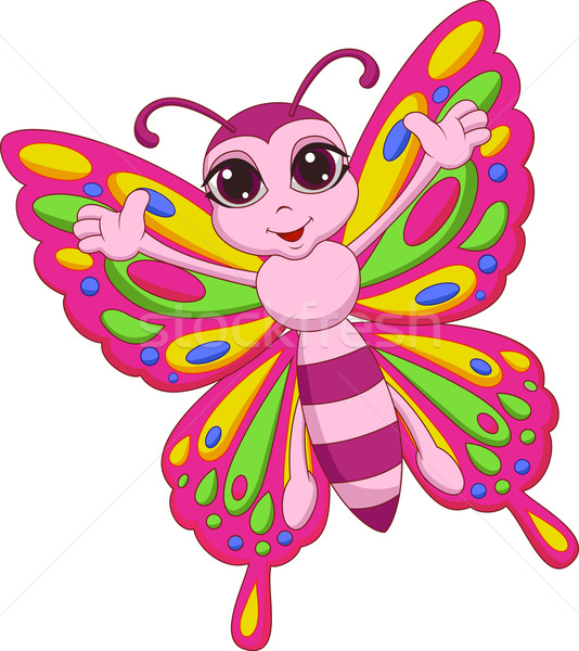 Cute farfalla cartoon felice natura bellezza Foto d'archivio © tigatelu