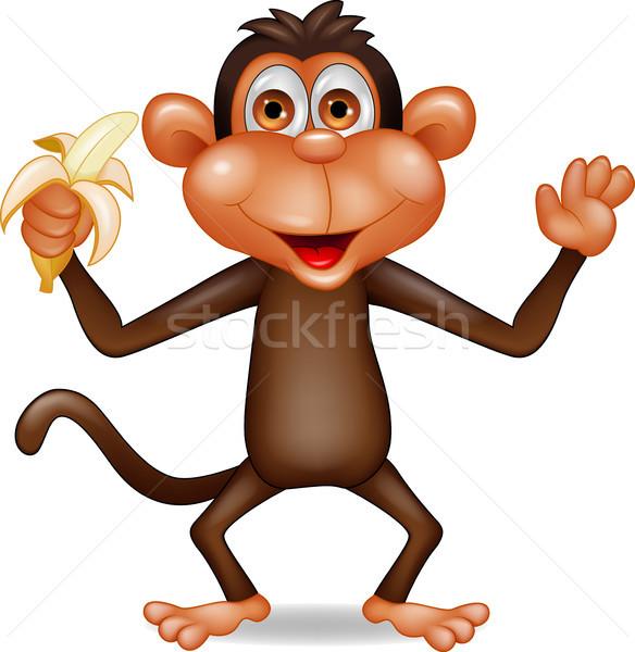 Macaco Desenho Animado Alimentacao Banana Bebe Sorrir