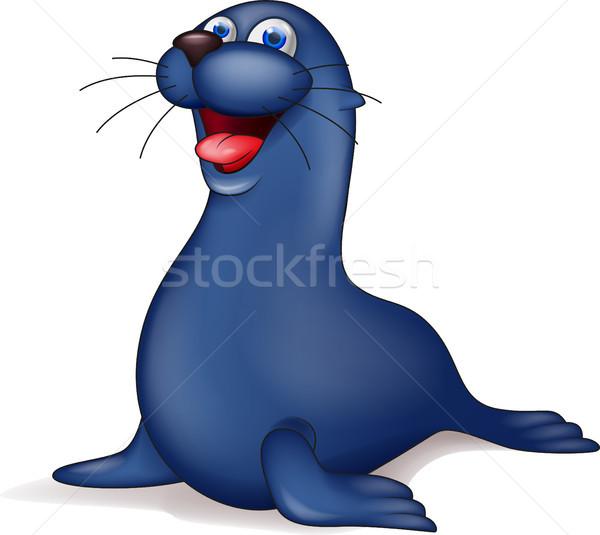 Zegel cartoon oog gelukkig zee grappig Stockfoto © tigatelu
