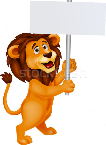 Stock photo: Lion cartoon with blank sign