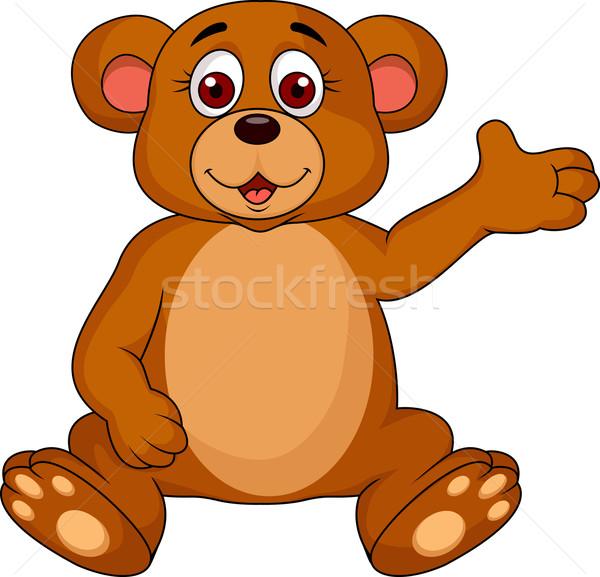 Cute brown bear waving  Stock photo © tigatelu