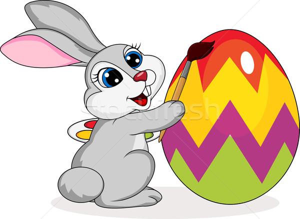 Sevimli Tavşan Boyama Easter Egg Arka Plan Yeşil