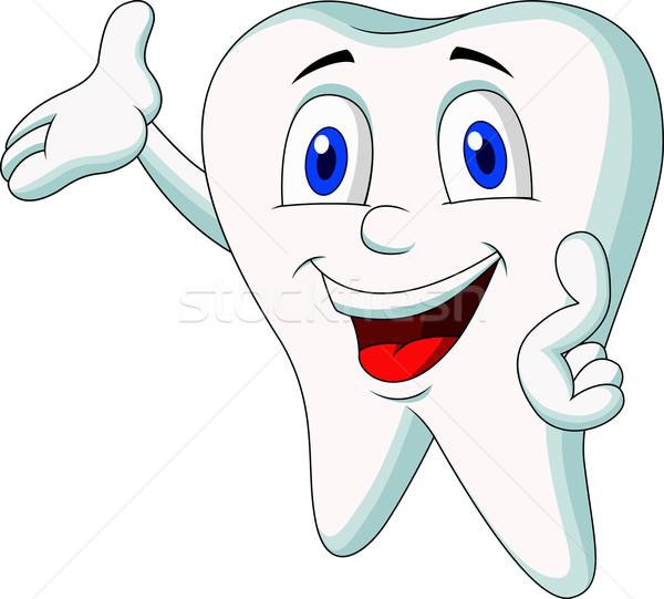1 Toothed Cartoon Characters : Bonitinho · dente corpo boca ilustração de vetor