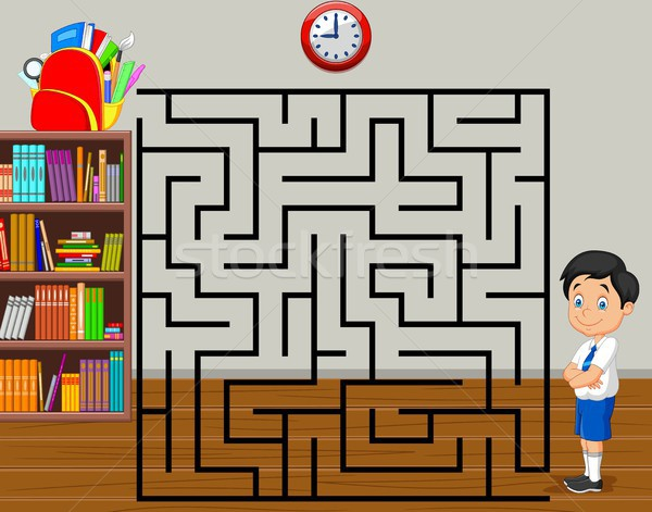 help the boy to find his backpack, maze game Stock photo © tigatelu