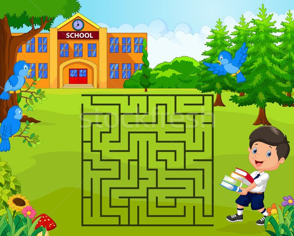 help the boy to find his school, maze game Stock photo © tigatelu