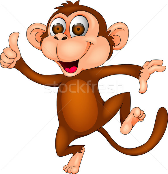 Funny dancing monkey cartoon Stock photo © tigatelu