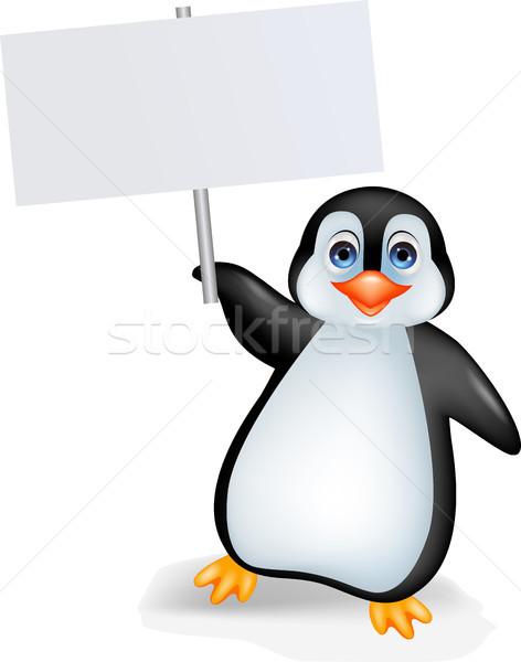 Penguin cartoon with blank sign Stock photo © tigatelu