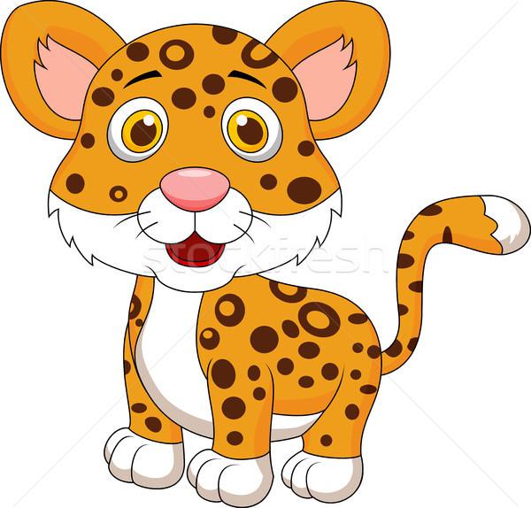 Aranyos leopárd rajz baba boldog erdő Stock fotó © tigatelu