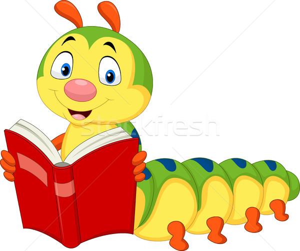 Desenho animado lagarta leitura livro estudante educação Foto stock © tigatelu