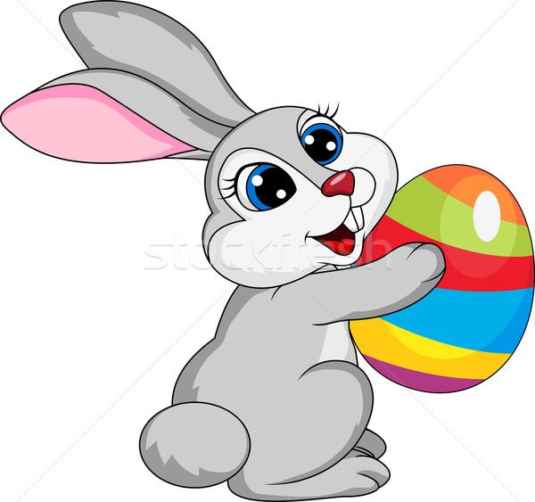 Bonitinho branco rabino ovo de páscoa páscoa feliz Foto stock © tigatelu