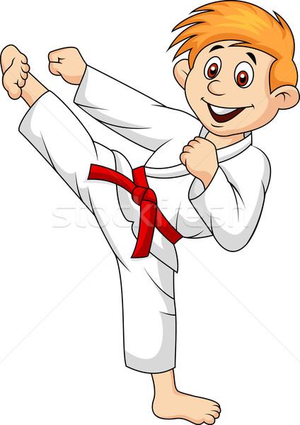 мальчика играет каратэ девушки улыбка спорт Сток-фото © tigatelu