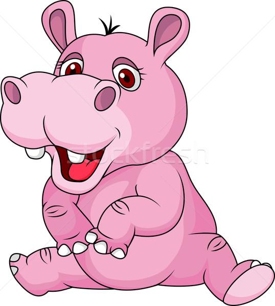 Aranyos víziló rajz mosoly boldog állat Stock fotó © tigatelu