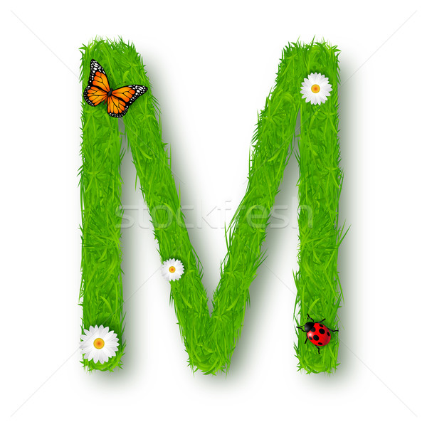 Grass Letter M on white background  Stock photo © tigatelu