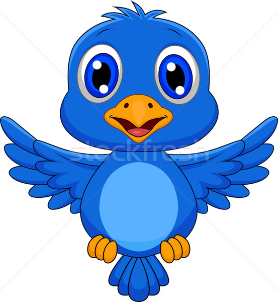 Cute blue bird cartoon flying Stock photo © tigatelu