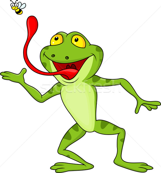Happy frog cartoon catching fly Stock photo © tigatelu