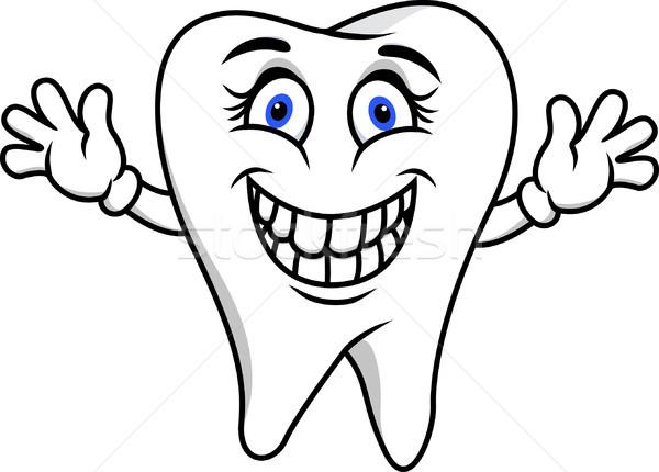 Stock foto: Glücklich · Zahn · Karikatur · Lächeln · Gesicht · Mann