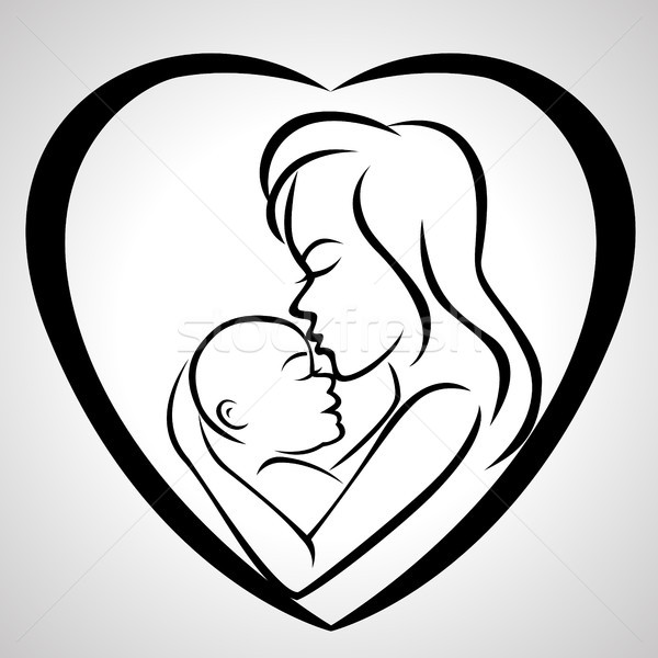 Mother and baby icon Stock photo © tigatelu