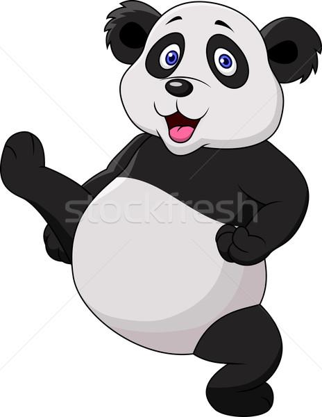 Panda karikatür spor eğlence siyah Stok fotoğraf © tigatelu