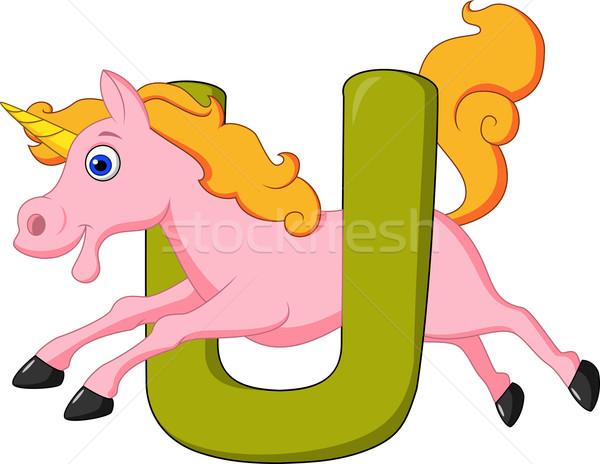 Alphabet U with unicorn Stock photo © tigatelu