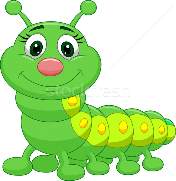 Bonitinho lagarta desenho animado mãos sorridente risonho Foto stock © tigatelu