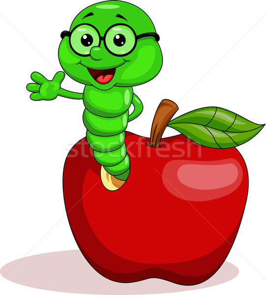 Worm with red apple Stock photo © tigatelu