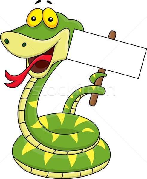 Сток-фото: зеленый · змеи · Cartoon · глаза · счастливым