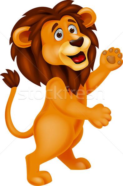 Oroszlán rajz integet macska Afrika nevetés Stock fotó © tigatelu